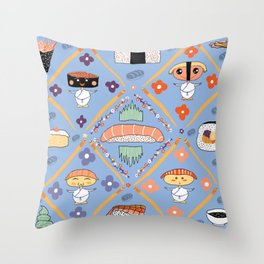 Japanese Kawaii Sushi Nodders Bobbleheads Throw Pillow