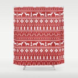 Deer christmas fair isle camping pattern snowflakes minimal winter seasonal holiday gifts Shower Curtain