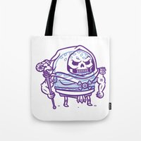 skeletor Tote Bags featuring Cheeseburger Skeletor by Philip Tseng