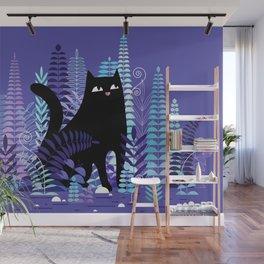 The Ferns (Black Cat Version) Wall Mural