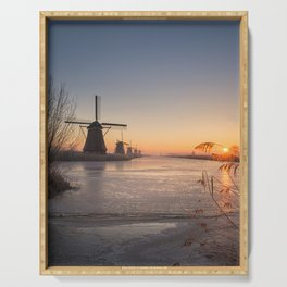 Windmills at Sunrise Serving Tray