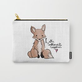 Introvert Quote Cute Watercolor Fox Art Carry-All Pouch