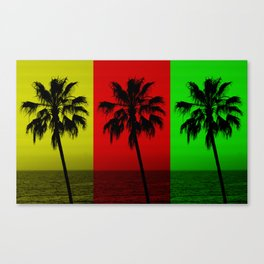 Palm Trees in Red, Gold, and Green Canvas Print