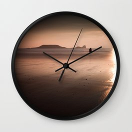 Sunset and wet sand at Worms Head, Gower, Wales Wall Clock