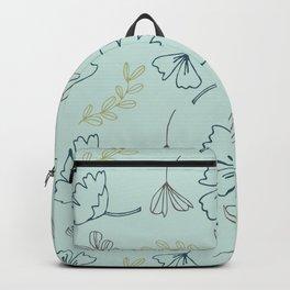 Ginko Leaves on Aqua Blue  Backpack
