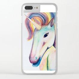 Rainbow Unicorn Watercolour Clear iPhone Case