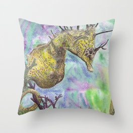Seahorse Watercolor Throw Pillow