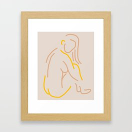 Abstract-Nude-Yellow Framed Art Print