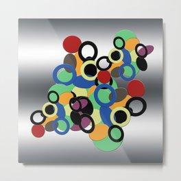 Multi colored circles on metal Metal Print