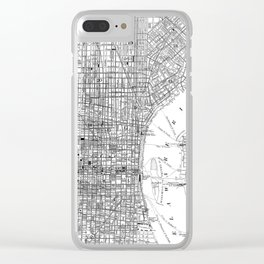 Vintage Map of Philadelphia Pennsylvania (1876) BW Clear iPhone Case