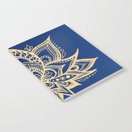 Gold and Blue Lotus Flower Mandala Notebook
