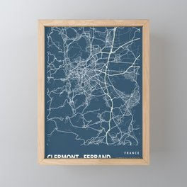 Clermont - Ferrand Blueprint Street Map, Clermont - Ferrand Colour Map Prints Framed Mini Art Print