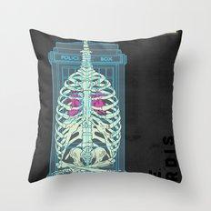 Spaceship Skeletal Survey: The Tardis Throw Pillow
