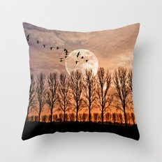 Night of the wild geese Throw Pillow