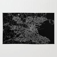 dublin Area & Throw Rugs featuring Dublin map by Line Line Lines