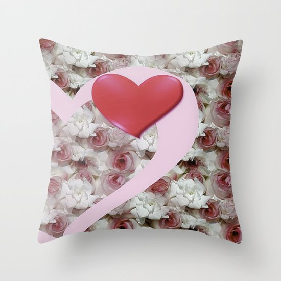 Bed of Roses Love Throw Pillow