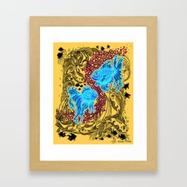 """Under the Sea"" (white graphics on blue background) Framed Art Print"