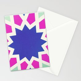 Oriental andalusia geometric ornament pattern in pink and purple Stationery Cards