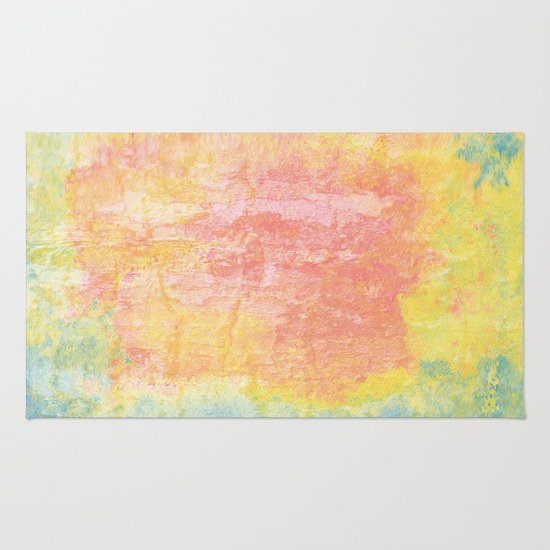 Pink, Yellow And Blue Texture Rug By Wendy Townrow
