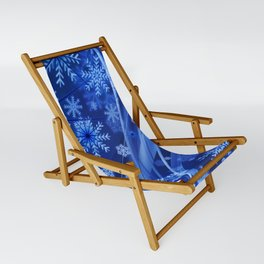 Blue Snowflakes Winter Sling Chair