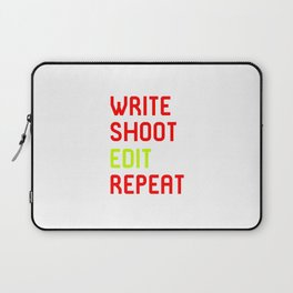 Write Shoot Edit Repeat Red Film School Laptop Sleeve