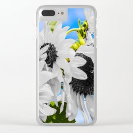 Stripped of color sunflowers Clear iPhone Case