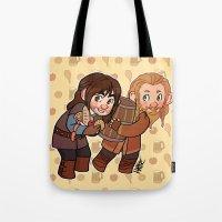 fili Tote Bags featuring Fili and Kili by Hattie Hedgehog