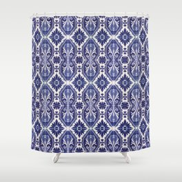 Portuguese Tiles Azulejos Blue White Pattern Shower Curtain