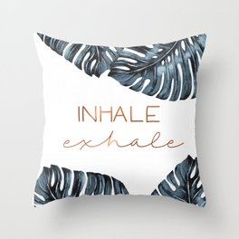 Inhale Exhale, Monstera Leafs, copper Throw Pillow