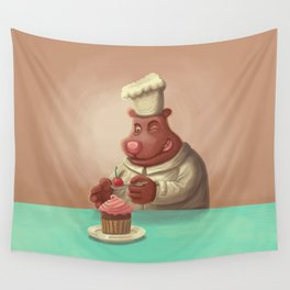 Bear Cherry Cupcake Wall Tapestry