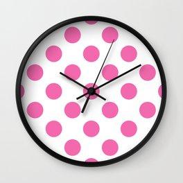 Geometric Candy Dot Circles - Strawberry Pink on White Wall Clock