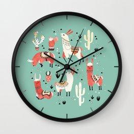 Llamas and cactus in a pot on green Wall Clock