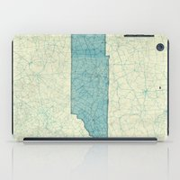 tennessee iPad Cases featuring Tennessee State Map Blue Vintage by City Art Posters