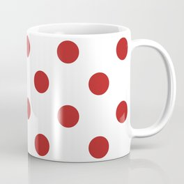 Polka Dots - Firebrick Red on White Coffee Mug