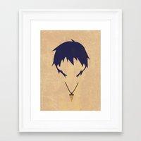gurren lagann Framed Art Prints featuring Minimalist Simon by 5eth