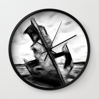 wreck it ralph Wall Clocks featuring Ghostly Wreck by inkedsandra