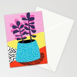 Shibby - neon 80's throwback potted plant indoor garden pink yellow red grid memphis los angeles pal Stationery Cards
