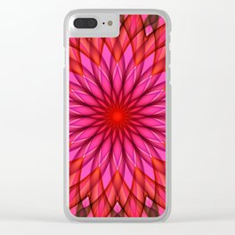 Pink,red and fuchsia color mandala Clear iPhone Case