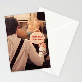 Work Hard Play Hard - Funny erotic image Stationery Cards