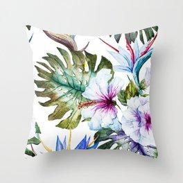 Watercolor Tropical Hibiscus Throw Pillow