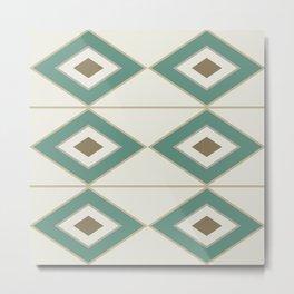 Mid Century Modern Geometric Diamonds and Stripes in Jade Green Beige Brown Metal Print