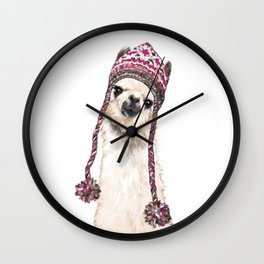 The Llama with Hat Wall Clock