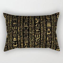 Egyptian hieroglyphs vintage gold on black Rectangular Pillow
