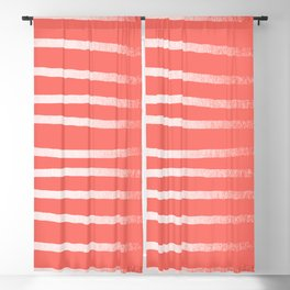 Living Coral Rose Gold Simply Drawn Stripes Blackout Curtain