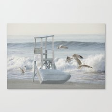 Life Boat and Gulls amidst the Surf Canvas Print