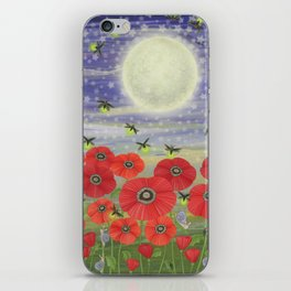 moonlit poppies, fireflies, and snails iPhone Skin