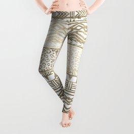 Modern faux gold foil aztec leopard pattern Leggings