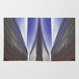 Architectural abstract of a metal clad building looming in symmetry. Rug