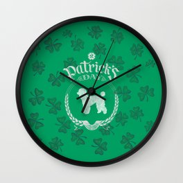 St. Patrick's Day Poodle  Funny Gifts for Dog Lovers Wall Clock