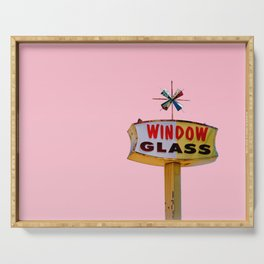 Atomic Pink Starburst - Vintage Googie-Style Sign with Pink Background Serving Tray